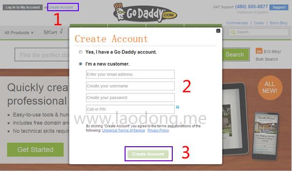 最新GoDaddy新账户注册教程