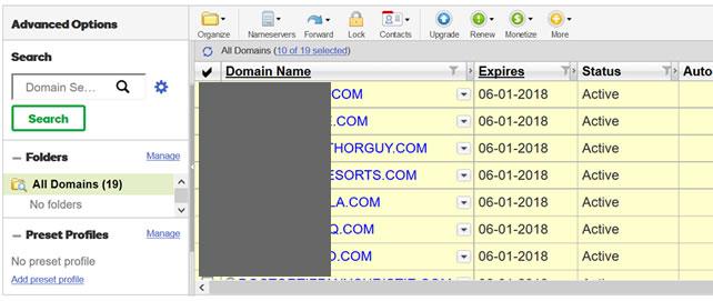 登录域名管理列表